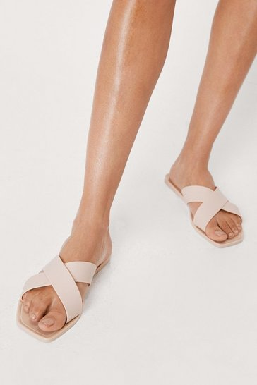Nude Wide Fit Faux Leather Crossover Sandals