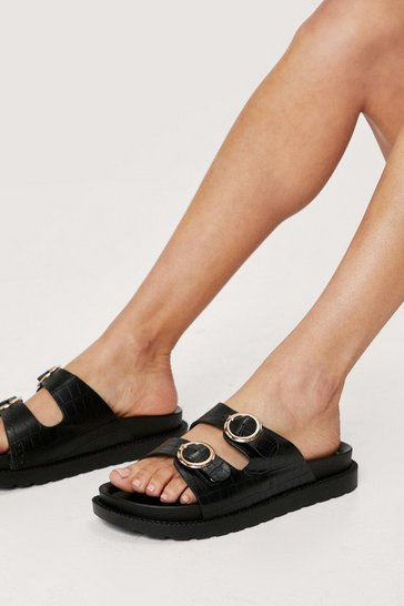 Black Faux Leather Open Toe Croc Footbed Sandals