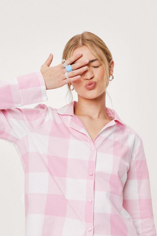 Check Print Pajama Shirt and Shorts Set   NastyGal