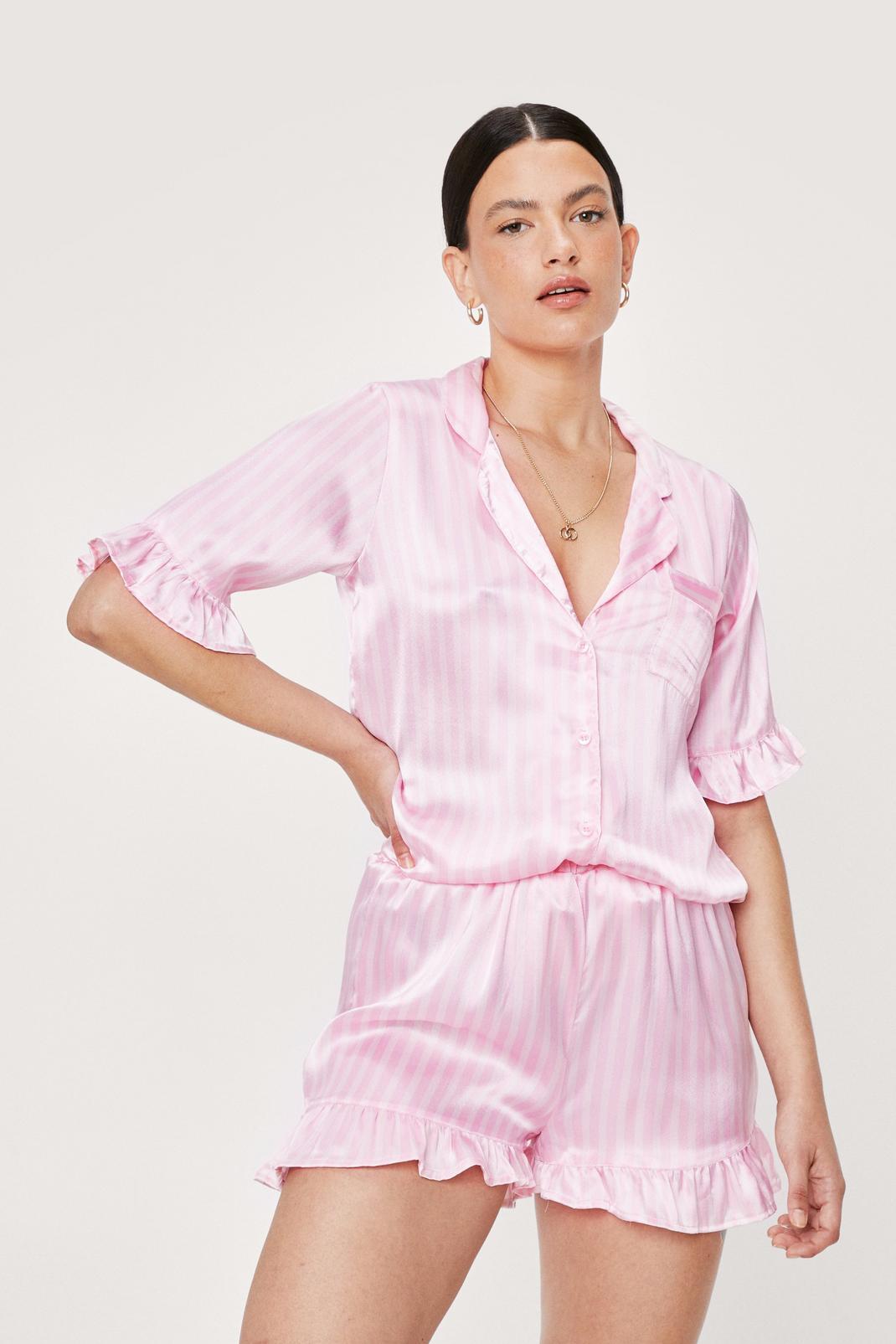 Satin Stripe Print Ruffle Pajama Short Set | NastyGal