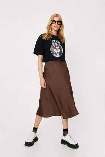 Chocolate Satin Bias Cut Hem Midi Skirt