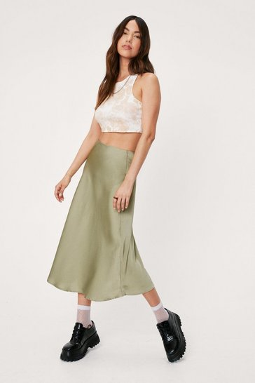 Green Satin Bias Cut Hem Midi Skirt