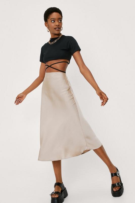 Satin Bias Cut Hem Midi Skirt   NastyGal (UK, IE)