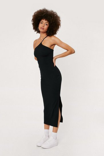Black Ribbed Asymmetric Split Hem Midi Dress