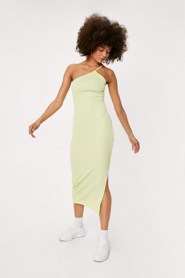 Limeade Ribbed Asymmetric Split Hem Midi Dress
