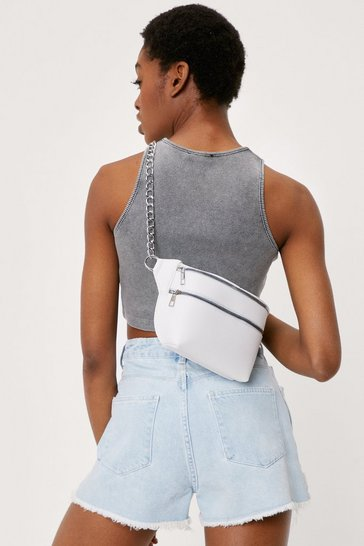 White Double Zip Curb Chain Structured Fanny Pack