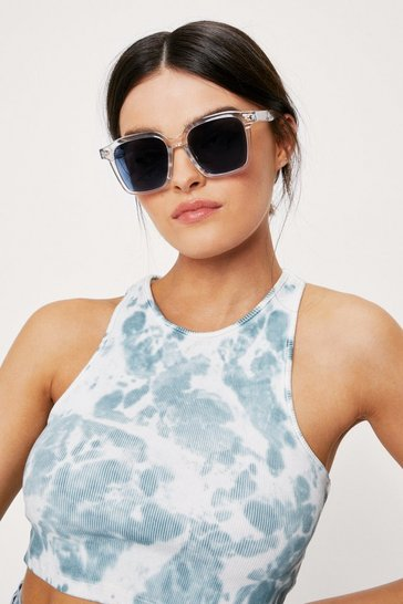 Clear Square Frame Tinted Sunglasses