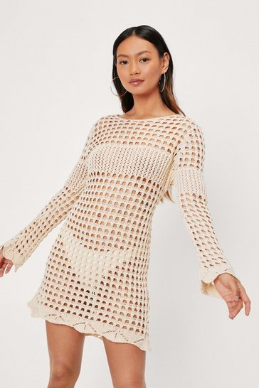 Oatmeal Petite Crochet Long Sleeve Mini Dress