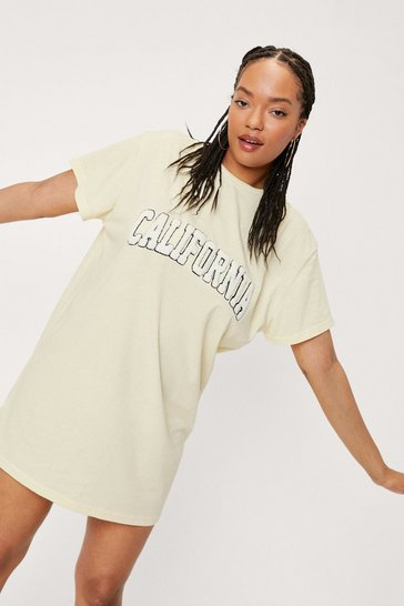 Lemon Plus Size California Embroidered T-Shirt Mini Dress