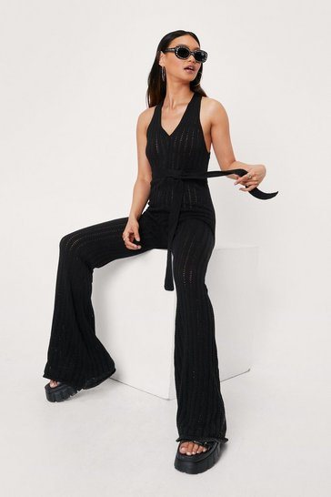 Black Petite Crochet Belted V Neck Jumpsuit