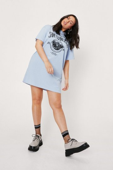 Blue Plus Size San Francisco Mini T-Shirt Dress