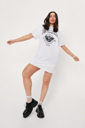 White Plus Size San Francisco Mini T-Shirt Dress