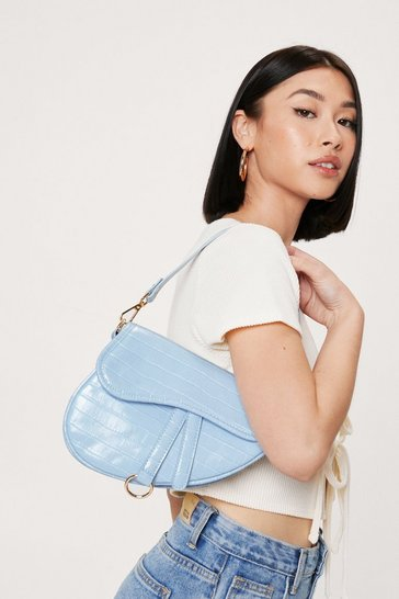 Baby blue Faux Leather Croc Saddle Shoulder Bag
