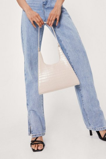 Stone Faux Leather Croc Structured Day Bag