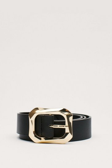 Black Faux Leather Croc Square Buckle Belt