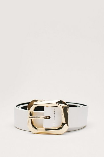 White Faux Leather Croc Square Buckle Belt