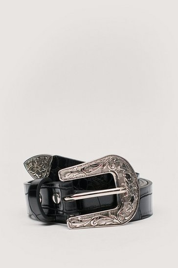 Black Faux Leather Croc Western Buckle Belt