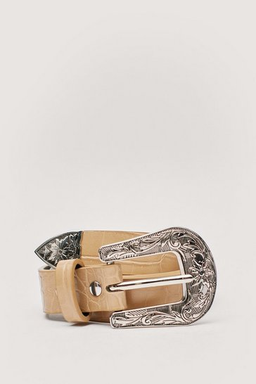 Nude Faux Leather Croc Western Buckle Belt