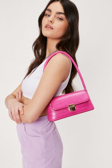 Hot pink Croc Structured Clasp Closure Shoulder Bag
