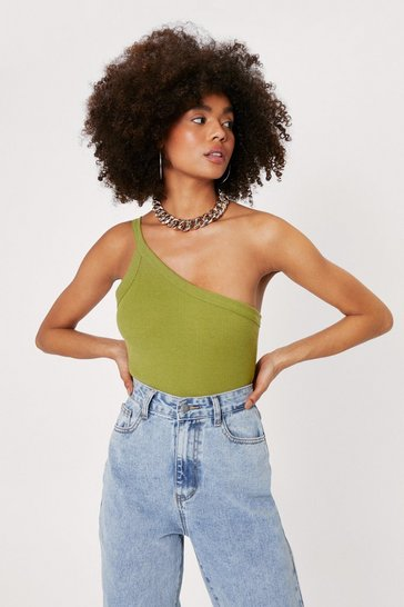 Olive One Shoulder Sleeveless High Leg Bodysuit