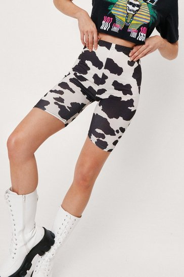 Black High Waisted Cow Print Biker Shorts