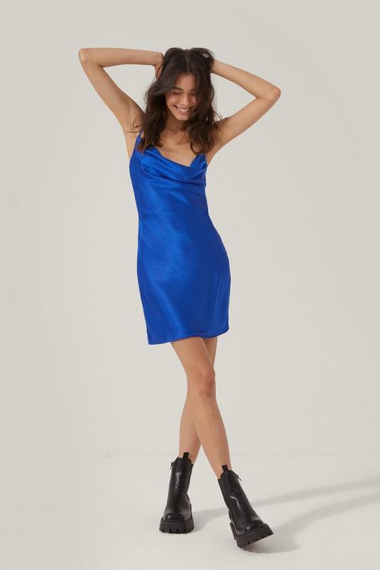 Satin Cowl Neck Mini Slip Dress | NastyGal