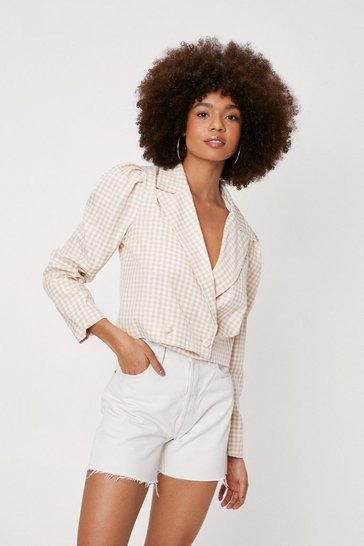 Beige Gingham Print Cropped Puff Shoulder Blazer