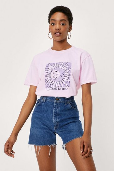 Pink Le Soleil La Lune Relaxed Graphic T-Shirt