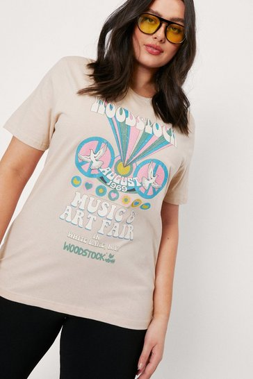 Sand Plus Size Woodstock Graphic T-Shirt