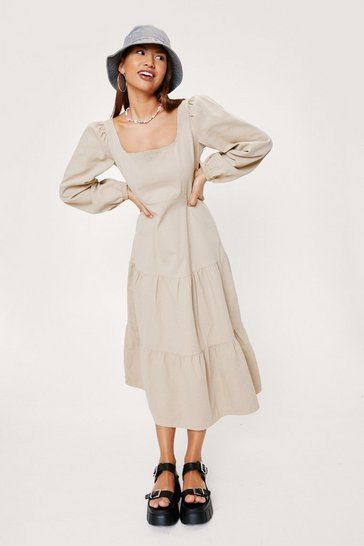 Sand Denim Puff Sleeve Square Neck Midi Dress