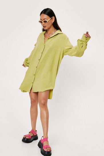 Lime Petite Linen Look Shirt Mini Dress