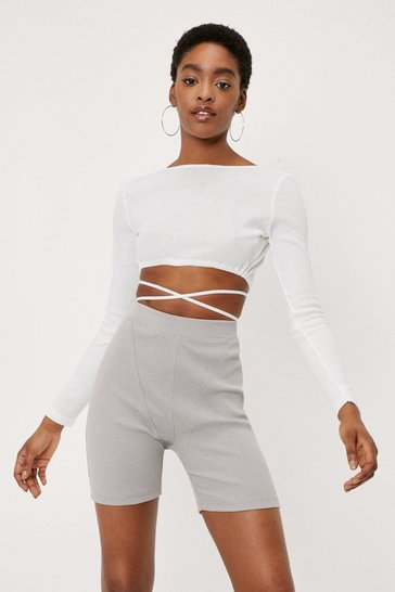 White Knitted Strappy Tie Waist Crop Top