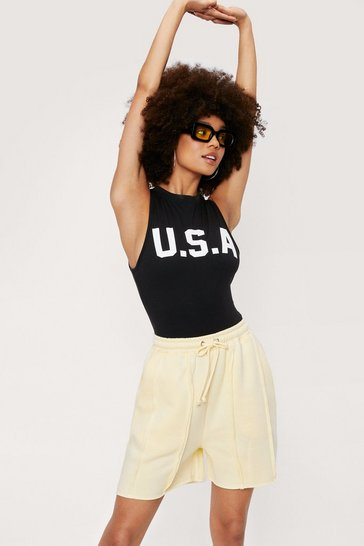 Lemon Seam Detail Longline Jogger Shorts