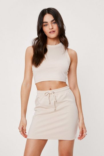 Cream Racerback Tank Top and Drawstring Mini Skirt Set