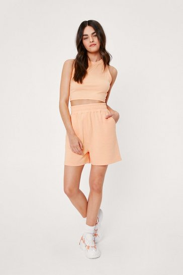 Apricot Racerneck Top and Longline Jogger Shorts Set