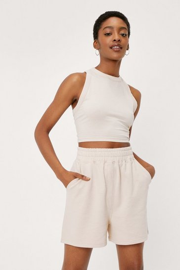 Cream Racerneck Top and Longline Jogger Shorts Set