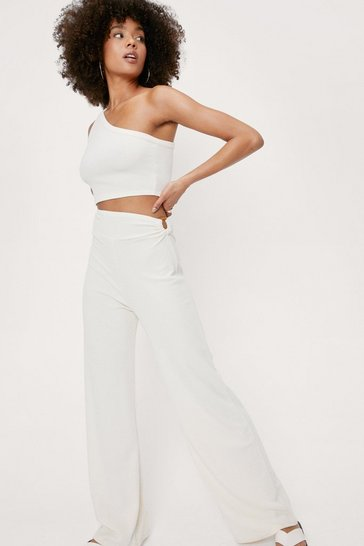 Ivory Ribbed O Ring Detail Wide Leg Pants