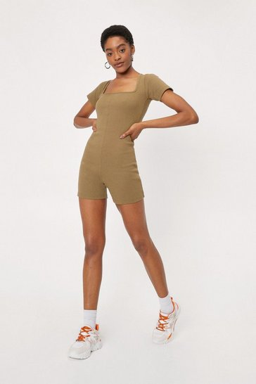 Olive Ribbed Square Neck Short Sleeve Unitard