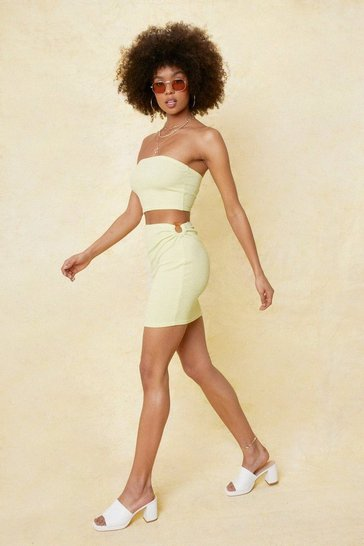 Lime O Ring Detail High Waisted Mini Skirt
