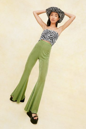 Olive High Waisted Slinky Extreme Flare Pants