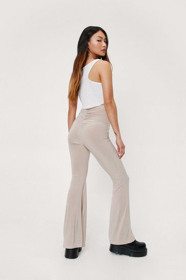 Stone Petite Ruched High Waisted Flare Pants