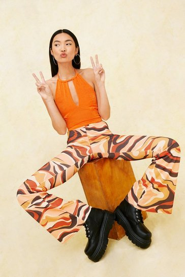 Rust Abstract Swirl Print High Waisted Flare Pants