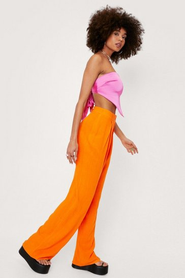 Orange Pleated Linen High Waisted Wide Leg Pants