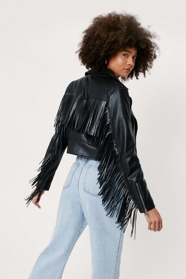 Black Faux Leather Fringed Moto Jacket