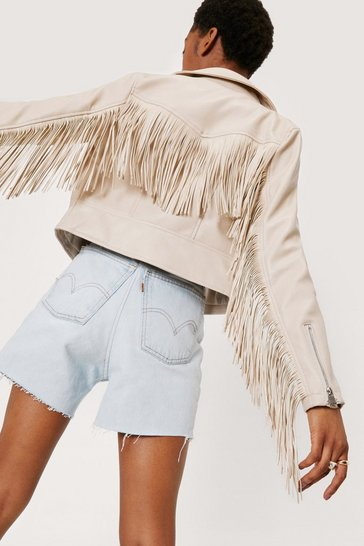 Cream Faux Leather Fringed Moto Jacket