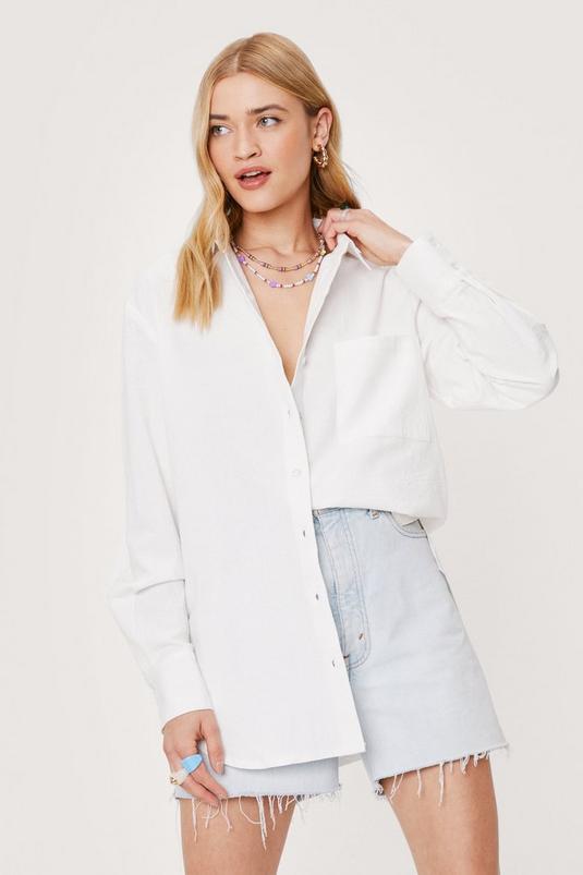 Linen Look Oversized Long Sleeved Shirt | NastyGal