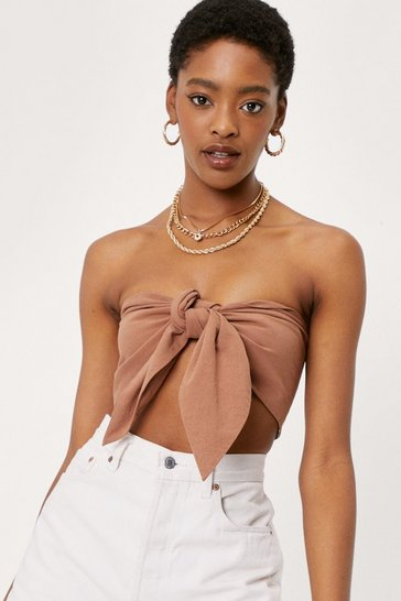 Tan Linen Look Bandeau Bow Crop Top