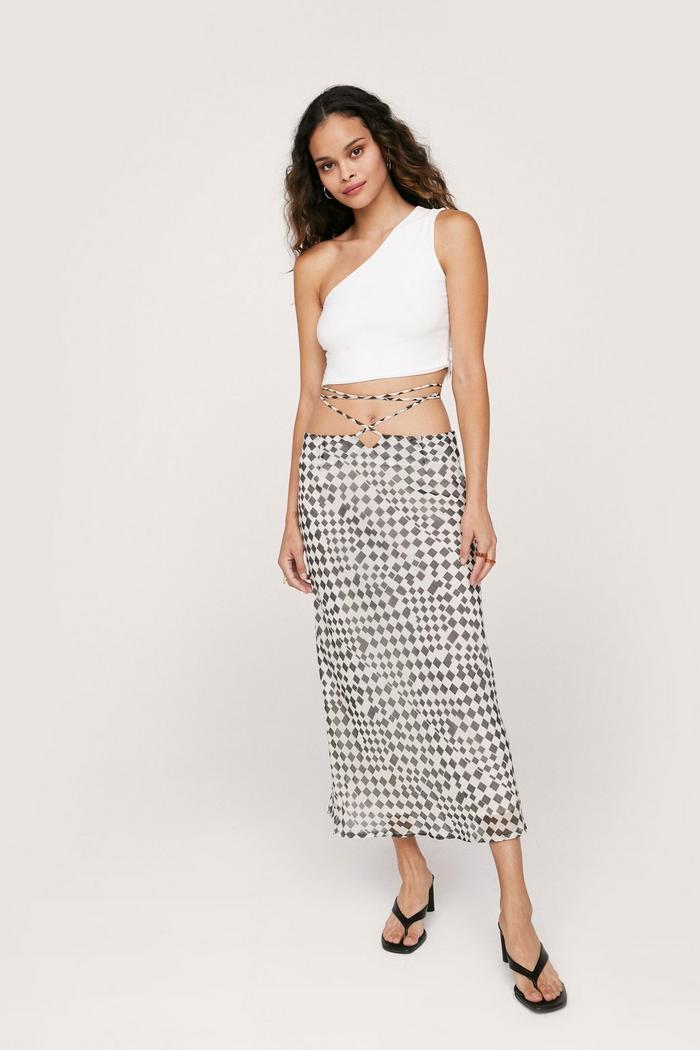 Tie Waist Chequerboard Midi Skirt | NastyGal