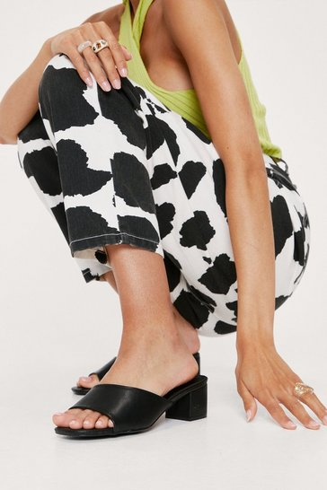 Black Faux Leather Block Heeled Mules
