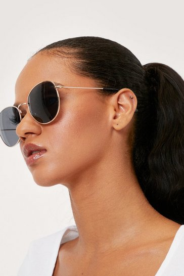 Black Oversized Round Tinted Aviator Sunglasses